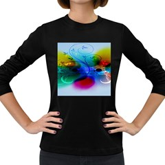 Abstract Color Plants Women s Long Sleeve Dark T Shirts