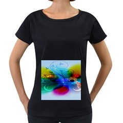 Abstract Color Plants Women s Loose Fit T Shirt (black)