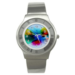 Abstract Color Plants Stainless Steel Watch