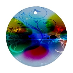 Abstract Color Plants Round Ornament (two Sides)