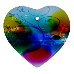 Abstract Color Plants Heart Ornament (Two Sides)