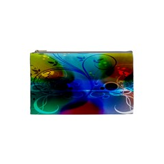 Abstract Color Plants Cosmetic Bag (Small)
