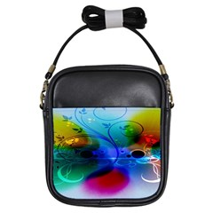 Abstract Color Plants Girls Sling Bags