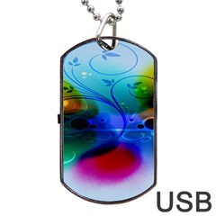Abstract Color Plants Dog Tag Usb Flash (one Side)