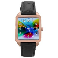 Abstract Color Plants Rose Gold Leather Watch