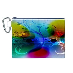 Abstract Color Plants Canvas Cosmetic Bag (L)