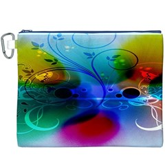 Abstract Color Plants Canvas Cosmetic Bag (xxxl)