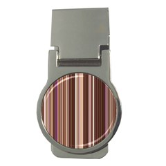 Brown Vertical Stripes Money Clips (round)