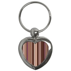 Brown Vertical Stripes Key Chains (heart)