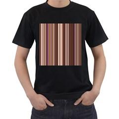 Brown Vertical Stripes Men s T Shirt (black) (two Sided)