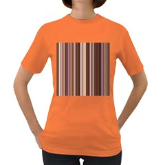 Brown Vertical Stripes Women s Dark T-Shirt