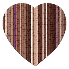 Brown Vertical Stripes Jigsaw Puzzle (Heart)