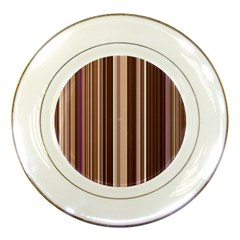 Brown Vertical Stripes Porcelain Plates