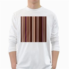 Brown Vertical Stripes White Long Sleeve T Shirts