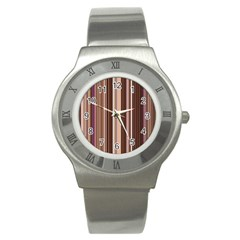 Brown Vertical Stripes Stainless Steel Watch
