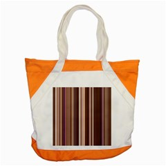 Brown Vertical Stripes Accent Tote Bag