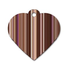 Brown Vertical Stripes Dog Tag Heart (one Side)