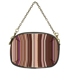 Brown Vertical Stripes Chain Purses (One Side)