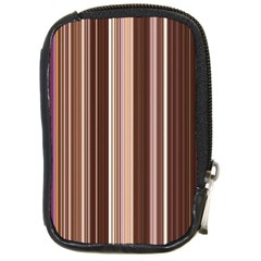 Brown Vertical Stripes Compact Camera Cases