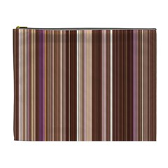 Brown Vertical Stripes Cosmetic Bag (xl)