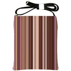Brown Vertical Stripes Shoulder Sling Bags