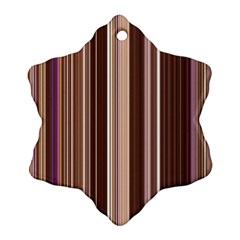 Brown Vertical Stripes Ornament (Snowflake)