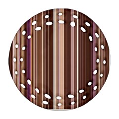Brown Vertical Stripes Round Filigree Ornament (two Sides)