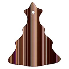 Brown Vertical Stripes Christmas Tree Ornament (Two Sides)
