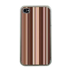 Brown Vertical Stripes Apple Iphone 4 Case (clear)