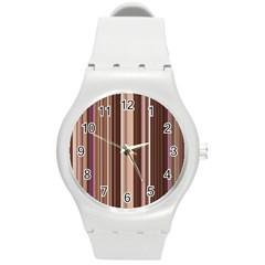Brown Vertical Stripes Round Plastic Sport Watch (M)