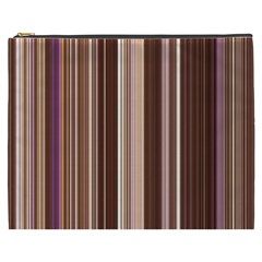 Brown Vertical Stripes Cosmetic Bag (xxxl)