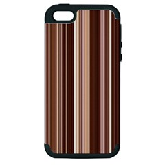 Brown Vertical Stripes Apple Iphone 5 Hardshell Case (pc+silicone)