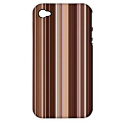 Brown Vertical Stripes Apple Iphone 4/4s Hardshell Case (pc+silicone)