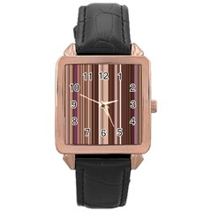 Brown Vertical Stripes Rose Gold Leather Watch
