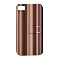 Brown Vertical Stripes Apple Iphone 4/4s Hardshell Case With Stand