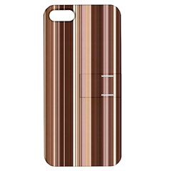 Brown Vertical Stripes Apple Iphone 5 Hardshell Case With Stand