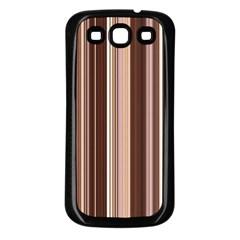 Brown Vertical Stripes Samsung Galaxy S3 Back Case (black)