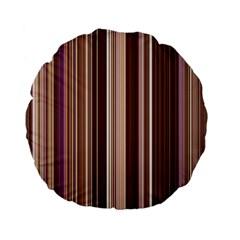 Brown Vertical Stripes Standard 15  Premium Flano Round Cushions