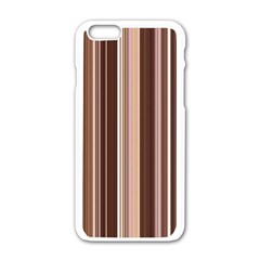 Brown Vertical Stripes Apple iPhone 6/6S White Enamel Case