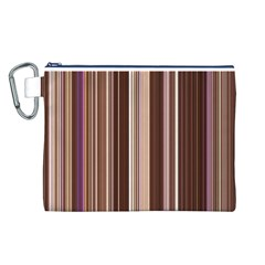 Brown Vertical Stripes Canvas Cosmetic Bag (L)
