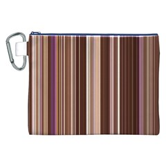 Brown Vertical Stripes Canvas Cosmetic Bag (xxl)