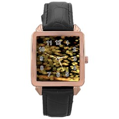 Blurry Sparks Rose Gold Leather Watch