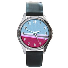 Cracked Tile Round Metal Watch