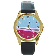 Cracked Tile Round Gold Metal Watch