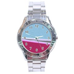 Cracked Tile Stainless Steel Analogue Watch