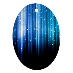 Blue Abstract Vectical Lines Ornament (oval)