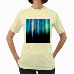 Blue Abstract Vectical Lines Women s Yellow T-Shirt