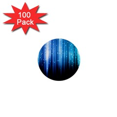 Blue Abstract Vectical Lines 1  Mini Buttons (100 pack)