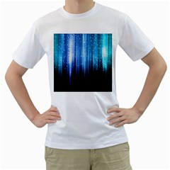 Blue Abstract Vectical Lines Men s T-Shirt (White) (Two Sided)