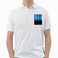 Blue Abstract Vectical Lines Golf Shirts